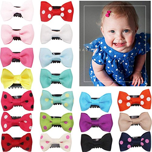20Pcs Tiny Baby Hair Clips for Fine Hair Boutique Grosgrain Ribbon Hair Bows Clips For Toddlers Infant Newborn Baby Girls