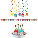 Art Party Supplies Pack Decorations Bundle: Centerpiece Ribbon Banner and Dizzy Danglers