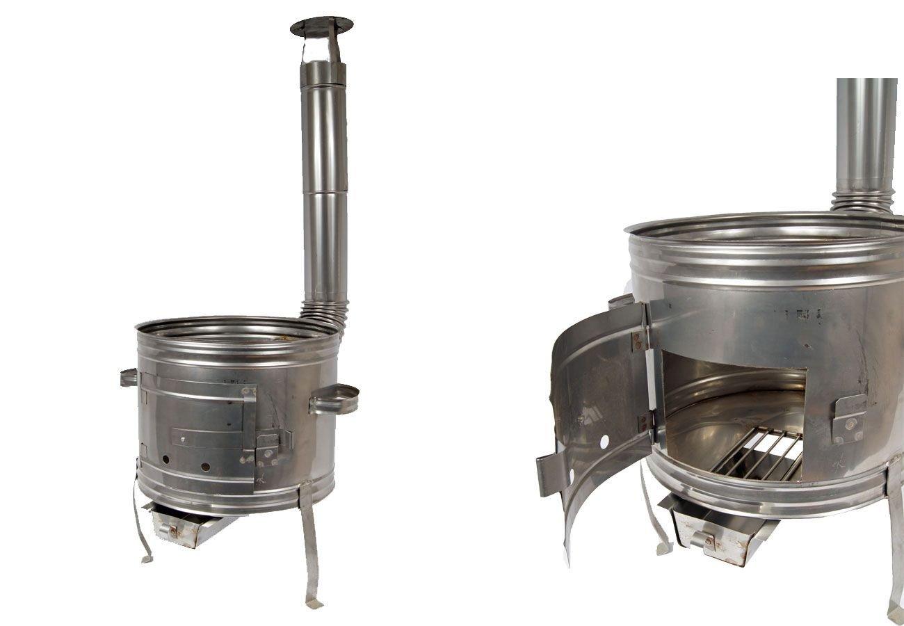 Edelstahl Ofen 39 Holzofen Gulaschkanone Terrassenofen für Töpfe bis 10 Liter Unbekannt