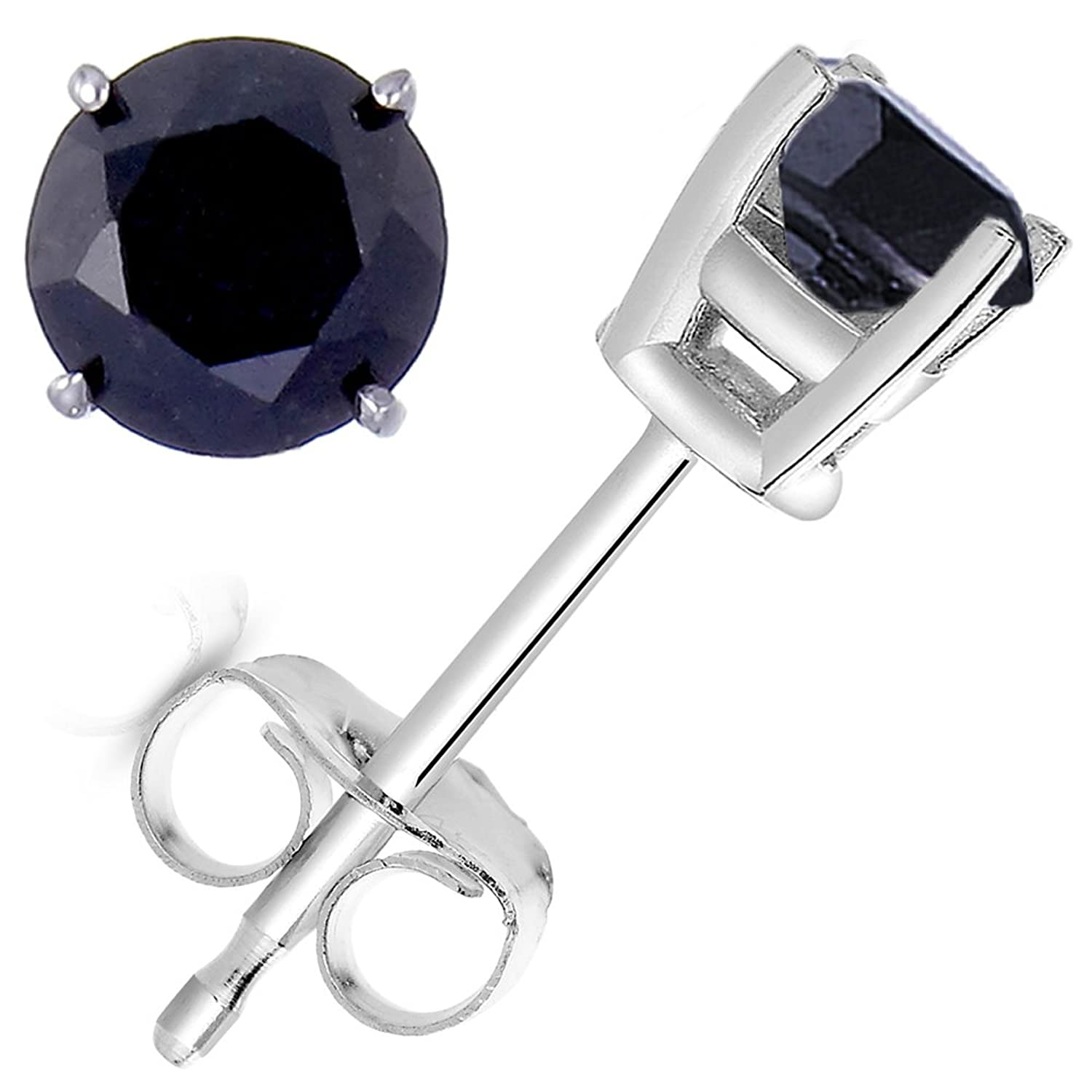 6 CT Black Diamond Stud Earrings .925 Sterling Silver