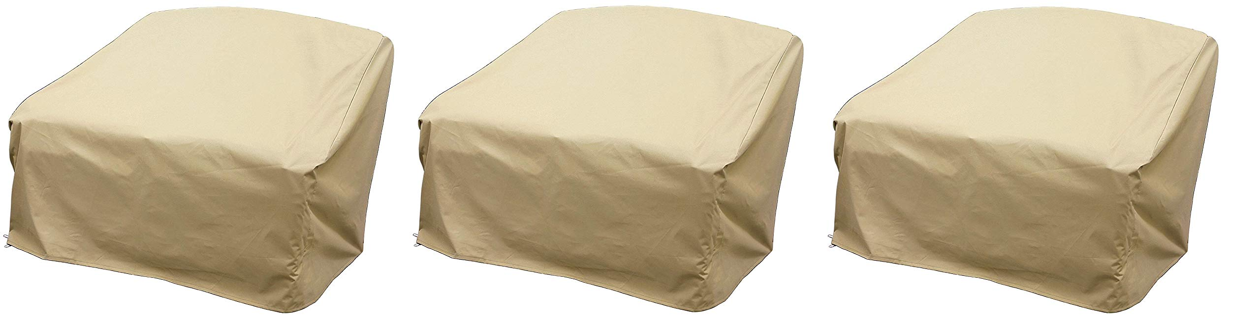 Modern Leisure 7466 Patio Love Seat Cover, Outdoor Patio Furniture Cover, Waterproof, 55 L x 33 W x 38 H inches, Tan (Pack of 3)