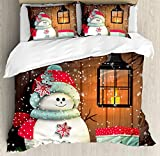 Cute King Size Comforter Sets Ambesonne Christmas Duvet Cover Set King Size, Cute Snowman with Santa Hat in The Garden with a Gift Box and Lantern Image, Decorative 3 Piece Bedding Set with 2 Pillow Shams, Brown White
