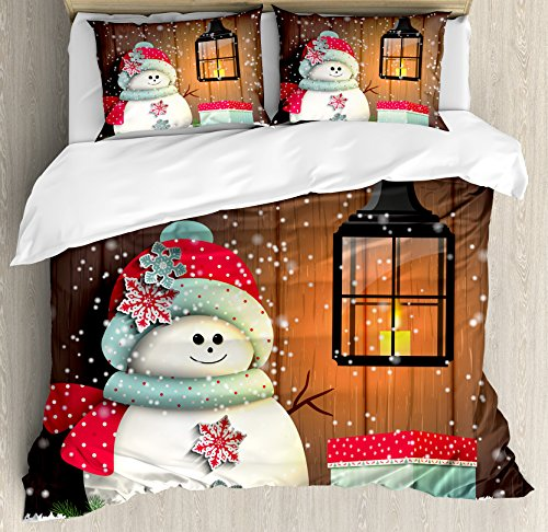 Decorative Santa Gift Box - Ambesonne Christmas Duvet Cover Set King Size, Snowman with Santa Hat in The Garden with a Gift Box and Lantern Image, Decorative 3 Piece Bedding Set with 2 Pillow Shams, White Brown
