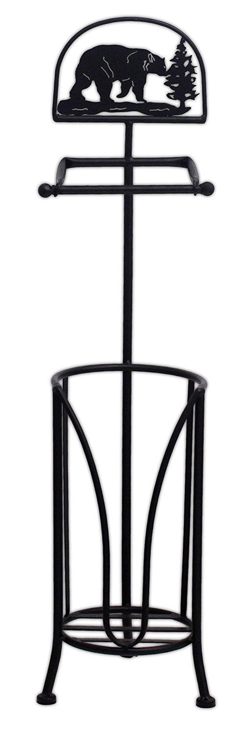 "MayRich 29"" Metal Black Bear Toilet Paper Holder Stand"