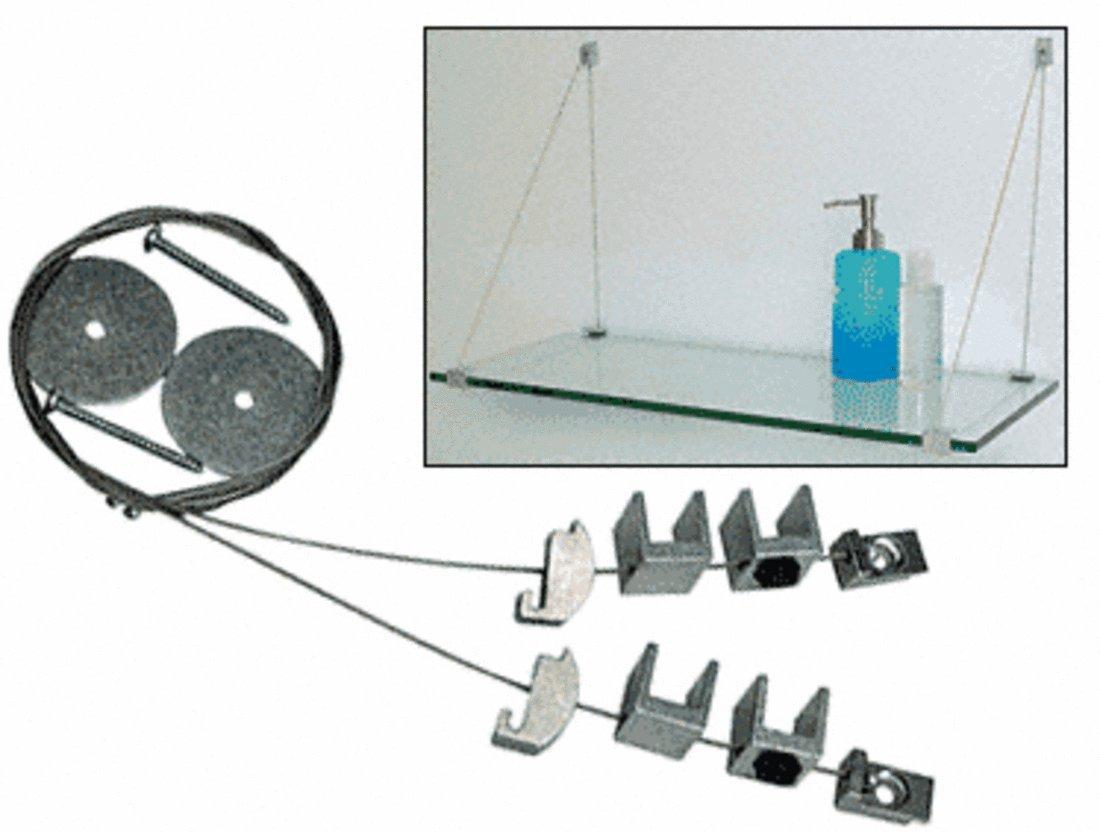 CRL Aluminum Finish Cable Shelf Bracket System for 5/8''-3/4'' Shelves