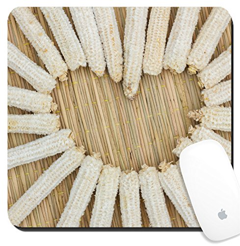 Luxlady Suqare Mousepad 8x8 Inch Mouse Pads/Mat design IMAGE ID: 35607913 heart shape made of corn cobs on thai traditional mat love (Corn Cob Shape)