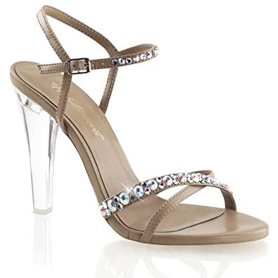 Amazon.com | Womens Nude and Clear Pageant Shoes with Rhinestone ...