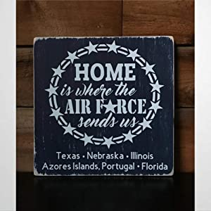 BYRON HOYLE Wooden Sign Home is Where The Air Force Sends Us - Personalized Military Family Sign Wood Plaque Wall Art Funny Wood Sign Wall Hanger Home Decor