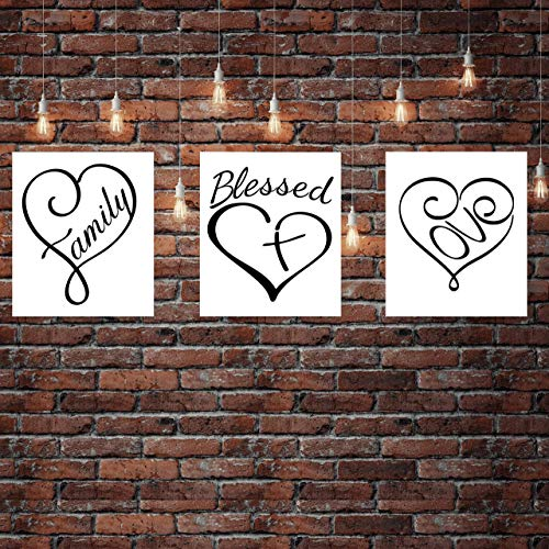 """""""Blessed- Family- Love"""" Black & White Wall Art Trio Set- 8 x 10""""s Print Wall Decor- Ready to Frame. Home-Kitchen Decor. Perfect Reminder That Family & Love is a True Blessing. Great Housewarming Gift."""