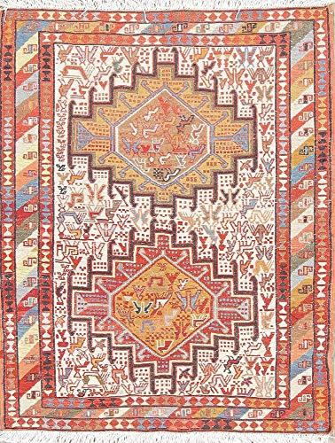 One-of-A-Kind New Kilim Shiraz Tribal Hand-Woven 2x3 Beige Wool/Silk Persian Area Rug (3' 1