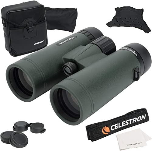 Celestron TrailSeeker 8×42 Binoculars Fully Multi-Coated Optics Binoculars for Adults Phase and Dielectric Coated BaK-4 Prisms Waterproof Fogproof Rubber Armored 6.5 Feet Close Focus