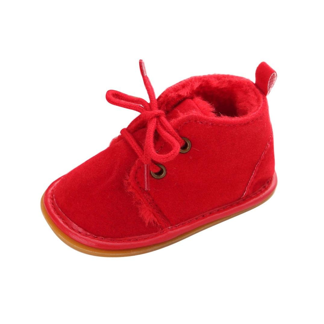 for 0-18 Months,Clode/® Baby Toddler Infant Snow Boots Shoes Rubber Lace Up Boots Sole Prewalker Crib Shoes