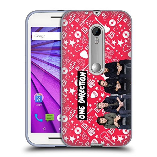 Official One Direction Red Group Icon Soft Gel Case for Motorola Moto G (3rd Gen) (Moto G One Direction Cases compare prices)