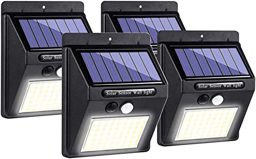 HANZE Solar LED Wall Light, 48 LED COB Outdoor Solar Motion Sensor Lights, Waterproof IP64 Wireless Security Lights for Garden, Patio 4 Pack