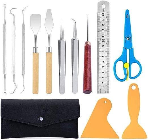 Juego de herramientas de deshierbe de vinilo de 12 piezas, desmalezadora de vinilo de acero inoxidable, accesorios de plotter para rotulación, HTV, rotulación y manualidades de bricolaje: Amazon.es: Hogar