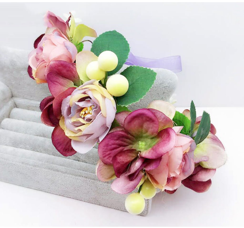 Wreath Flower, Headband Flower Garland Handmade Wedding Bride Party Ribbon Headband Wristband Hairband (Color : D)