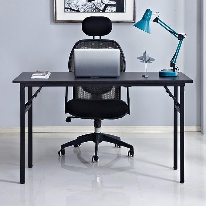 DlandHome Escritorios Mesa Plegable de Ordenador Escritorio de Oficina Mesa de Estudio Puesto de Trabajo Mesa de Despacho, 100x60cm, Negro