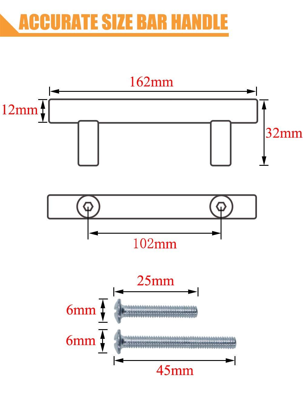 PinLin con tornillos de 6 x 25 mm Tiradores de acero inoxidable para puertas de armarios de cocina serie de mangos dorados en forma de T agujero /único//64//76//96//128//160//192//224//256 mm dorado