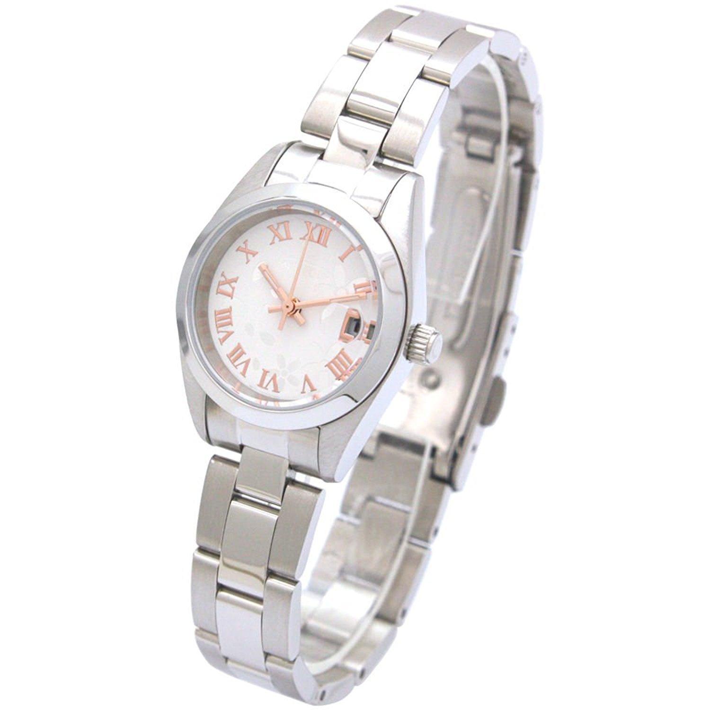 Amazon.com: AUREOLE Japanese-made watches metal band watch Sakura SW-591L-F Ladies: Watches