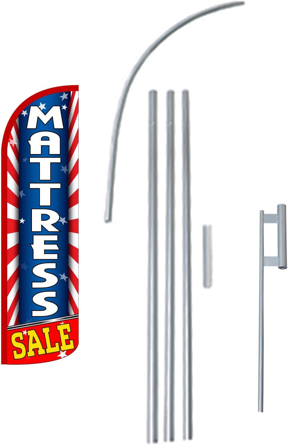 Full Sleeve Extra Protection King Size Swooper Flag Sign with Pole and Full Assembly Cleaners Windless