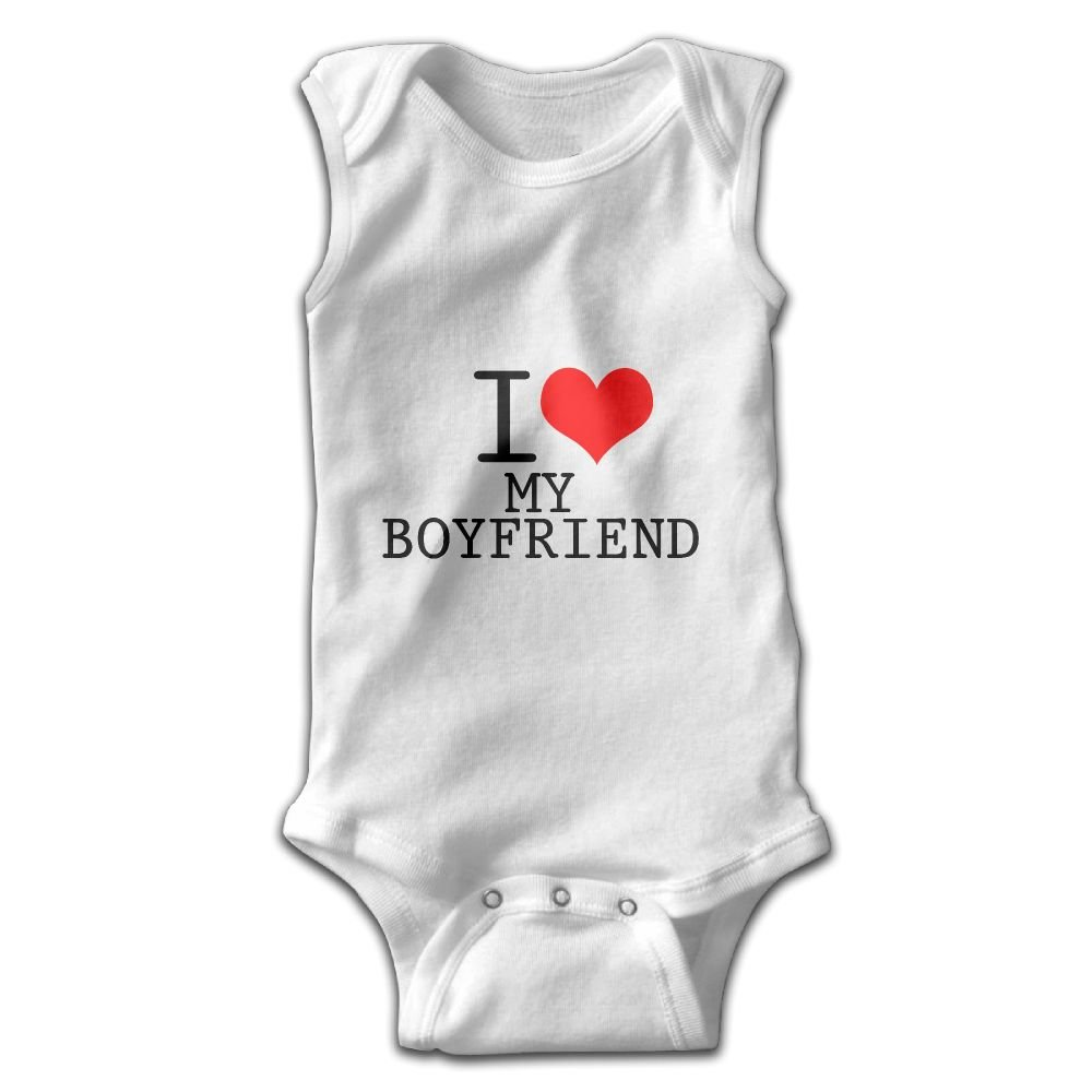 Newborn Baby Girls Rompers Sleeveless Cotton Onesie,I Love My Boyfriend Outfit Summer Pajamas