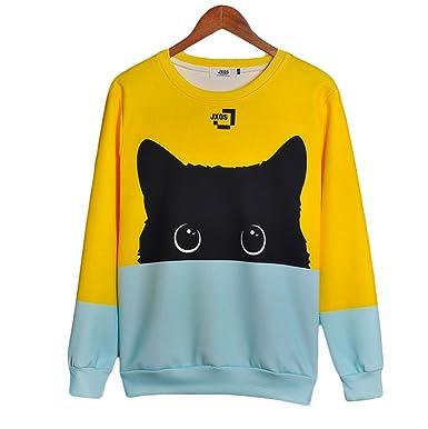 4bcffae21 CORIRESHA Color Block Cute Cat Pattarn Long Sleeve Round Neck ...