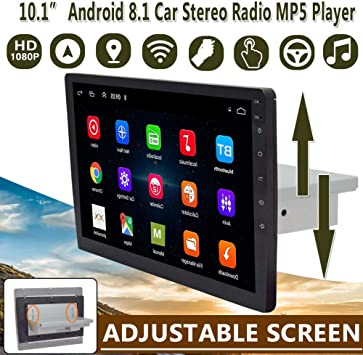 9 Zoll 10 1 Zoll Auto Multimedia Player 1din Stereo Für Android 8 1 Mit Nach Oben Und Unten Verstellbarem Bildschirm Wifi Bluetooth Gps Navi Radio Player 9 Zoll Sport Freizeit