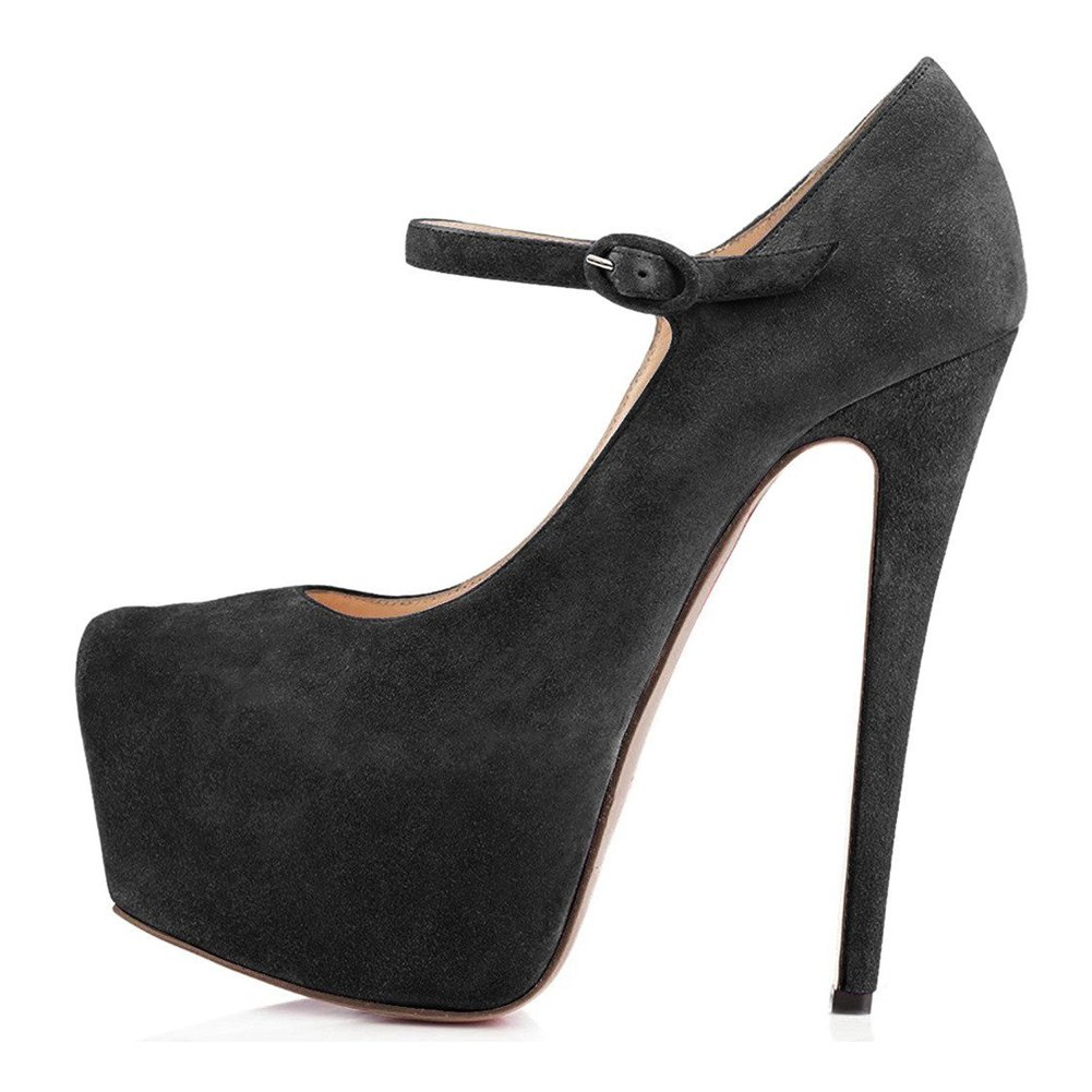 Suede Black UMEXI Plaform Pumps Ankle Strap Stiletto High Heels Wedding Party Dress shoes for Women