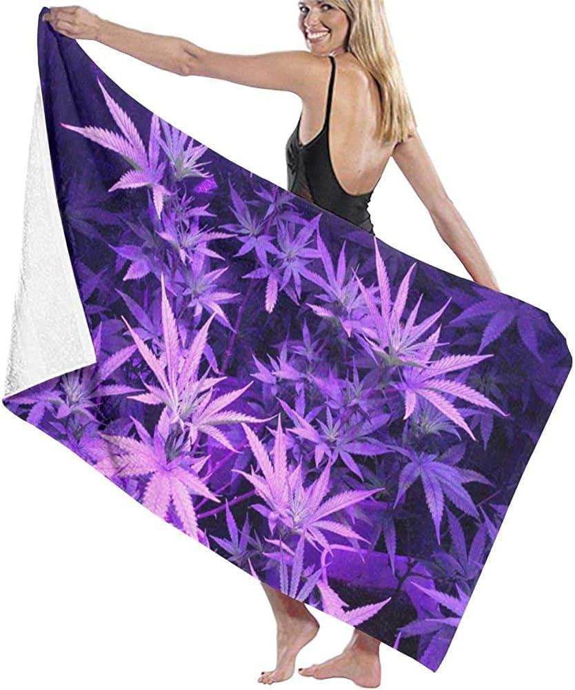Abel Berth Toalla de baño de Hoja de Marihuana Purple Weed Unisex Toalla de Playa de Microfibra Suave para Adultos Toalla de Viaje