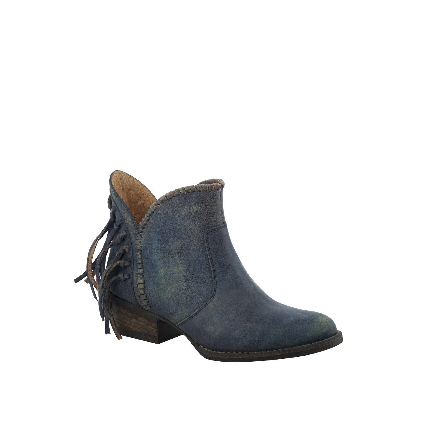 Corral Urban Women's Back Fringe Braided Top Blue Jean Leather Shortie Boots