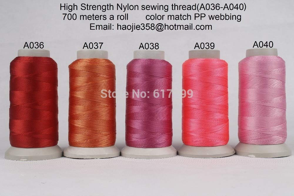 Laliva 700 Meters a roll High Tenacity Nylon Sewing Threads (A036-A040) Color Match PP Webbing (5 Rolls a Pack) by Laliva