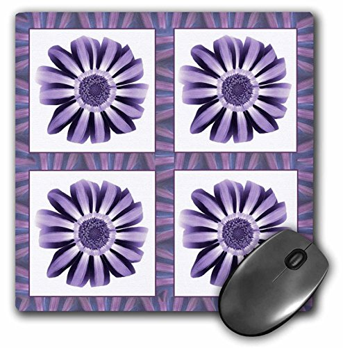 (3dRose Jaclinart Garden Flowers Floral Daisies Stripes Petals - Four iris and royal purple striped flowers with plum and blue flower petal border - MousePad (mp_31646_1))