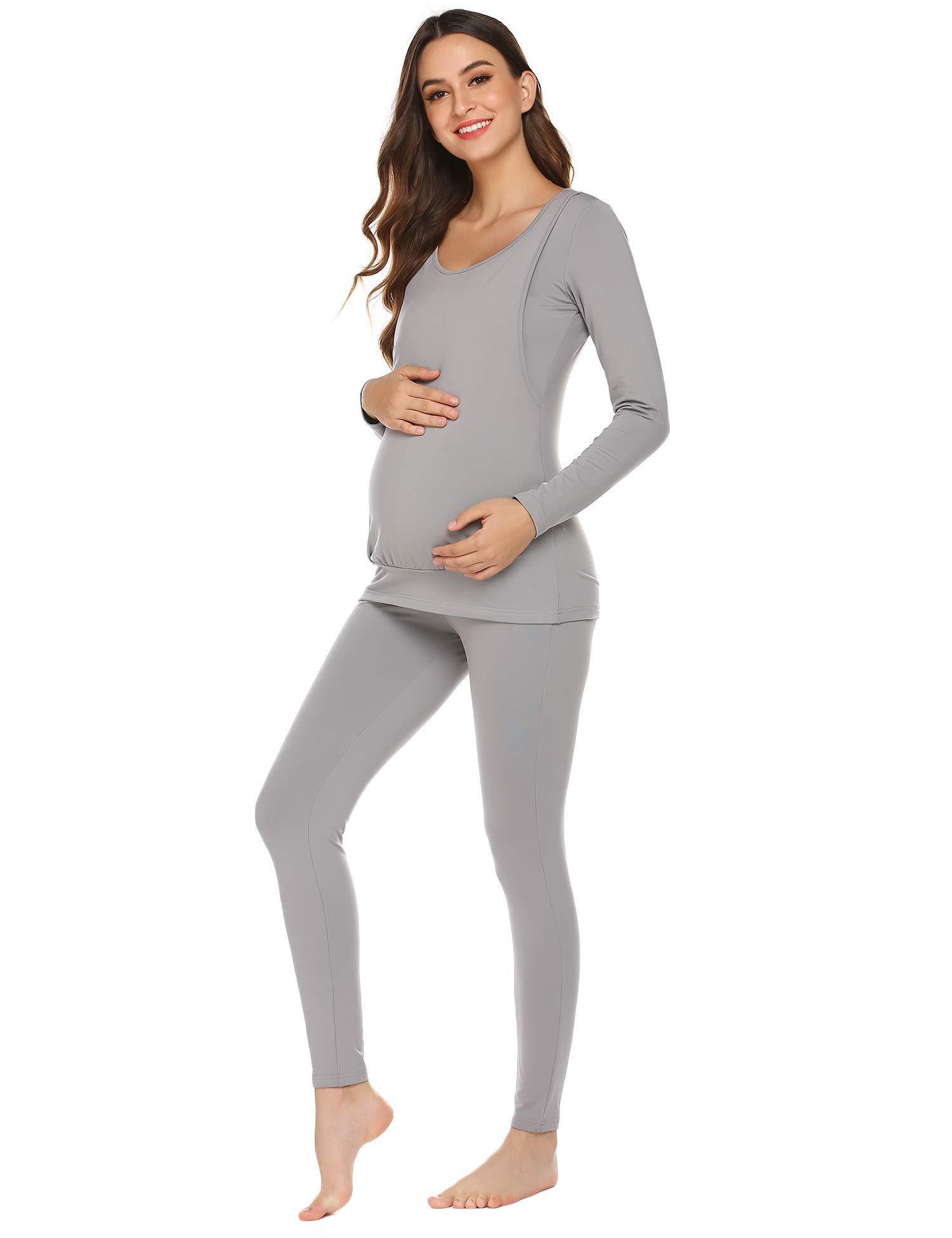 Ekouaer Womens Labor/Delivery/Nursing Ultra Soft Microfiber Fleece Thermal Underwear Long Johns (Grey, X-Large) by Ekouaer
