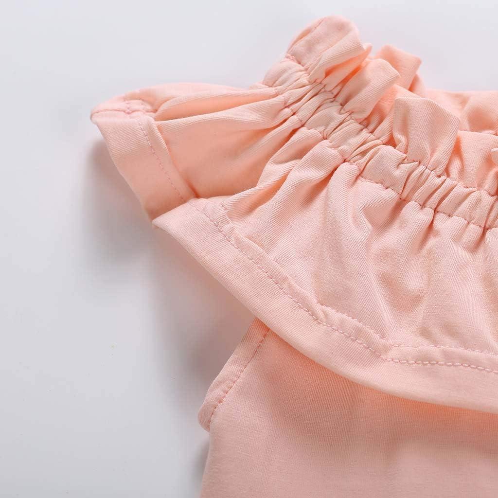 Waymine Infant Baby Girls Ruffles Off-Shoulder Romper+Floral Triangle Shorts Set
