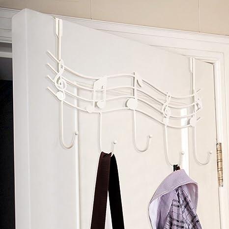 Para encima de la puerta ganchos, Woopower Metal notas puerta trasera para ropa perchero percha hook-5-hook colgar toalla sombrero puerta ganchos de ...