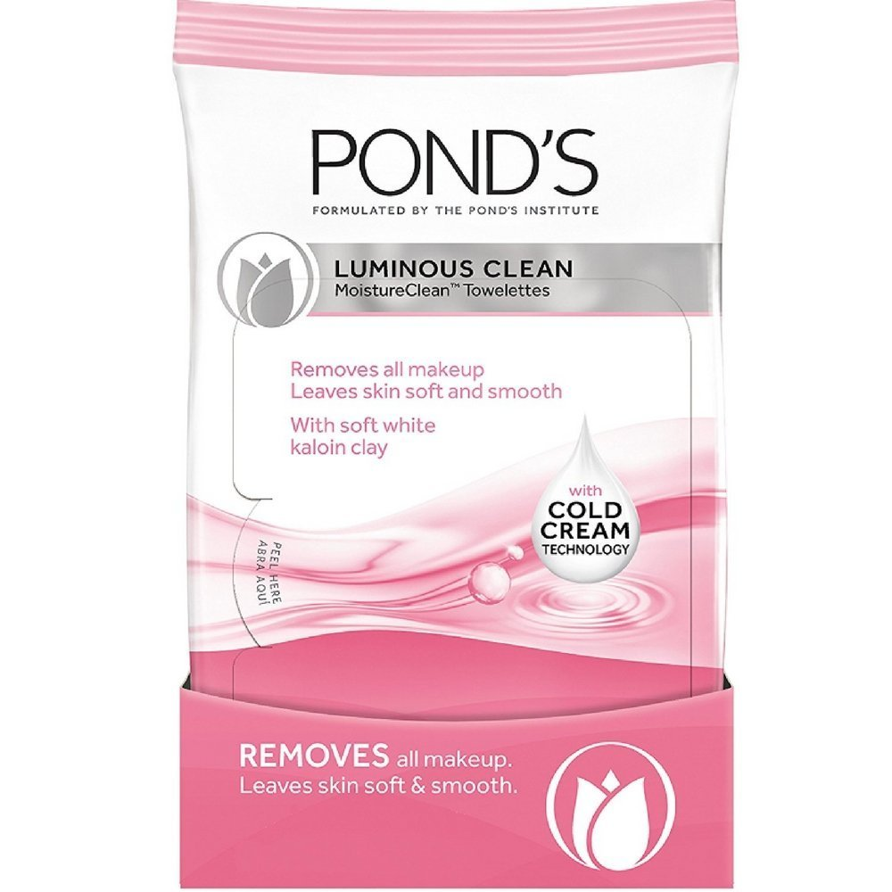 Pond's Luminous Clean Moisture Clean Towelettes With Cold Cream Technology 28 Each ( Pack of 4)