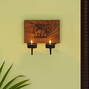 ExclusiveLane 'The Elephant Warriors' Hand Carved Wall Tealight Holders For Home Decor In Sheesham Wood - Wooden Wall Hanging Tea Lights Holder Votive Candle Stand For Home Decoration Items Wall Decor