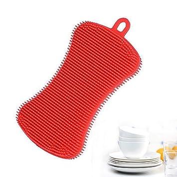 Esponja limpiadora de silicona para cocina, esponja antibacteriana, soporte multiusos para fregar platos y fregar sin moho. rosso: Amazon.es: Hogar