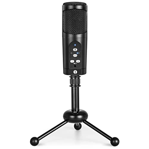1byone USB Microphone with tripod, Mute Button, LED indicator, audio out volume up/down control, compatible with Windows/MacOS/Linux