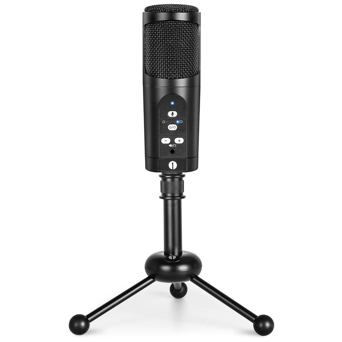 1byone USB Microphone with tripod, Mute Button, LED indicator, audio out volume up/down control, compatible with Windows/MacOS/Linux, Cardioid or Omni-directional Condenser USB Microphone