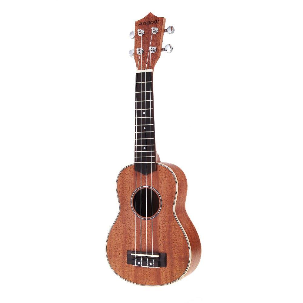 Andoer® 21in Ukelele Compacto Ukelele Hawaiano Caoba Aquila Rosewood Fretboard Puente Soprano Instrumento de Cuerdas 4 Cuerdas product image