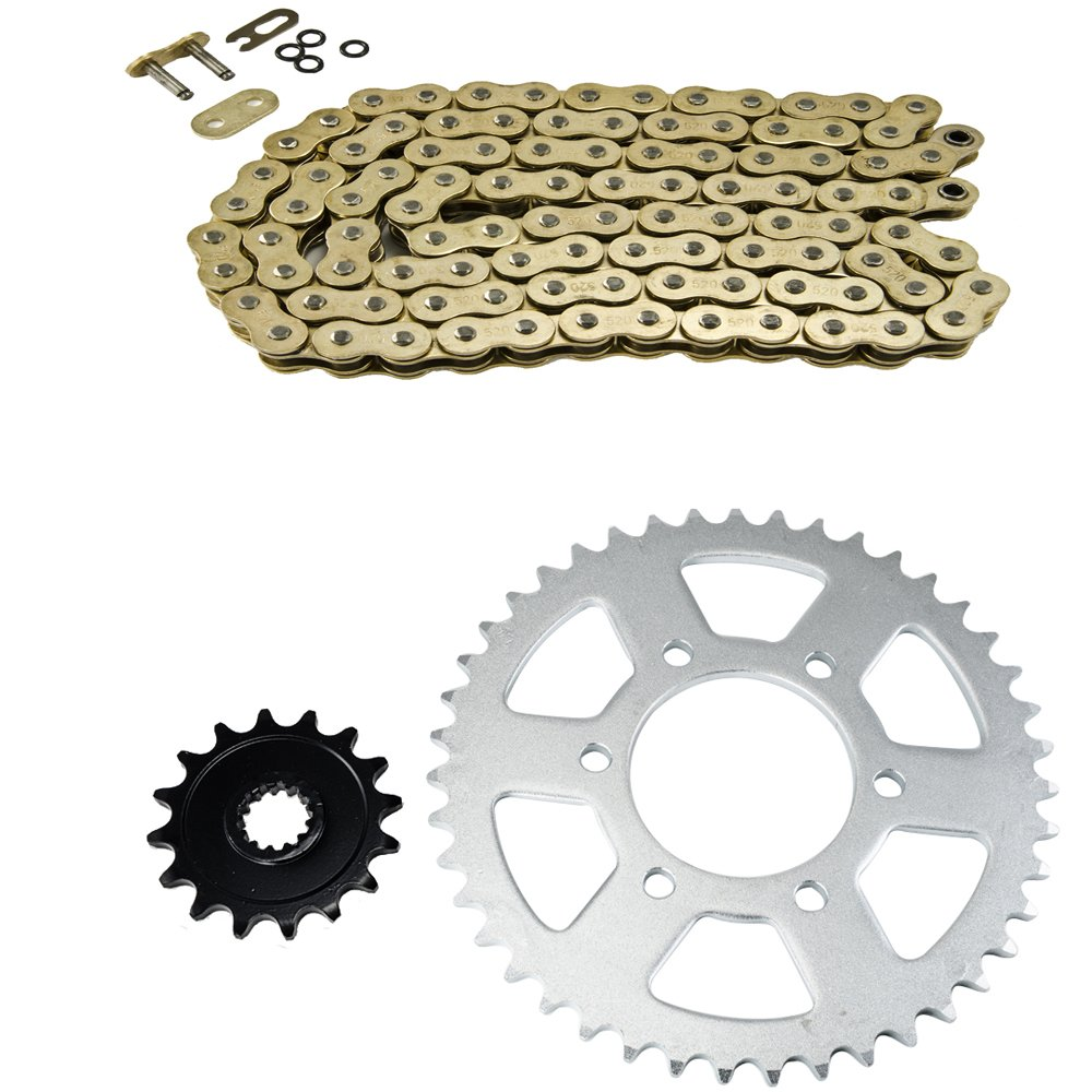 Gold O-Ring Chain and Sprocket Kit for Kawasaki ZX-6R ZX600 Ninja Road 2007-2015