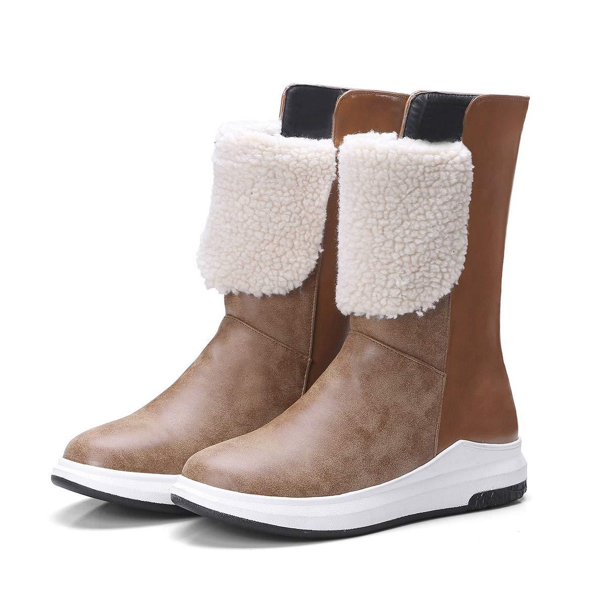 DANDANJIE Damen Schneestiefel Casual Keilabsatz Mode Stiefeletten Schwarz Braun für Herbst und Winter