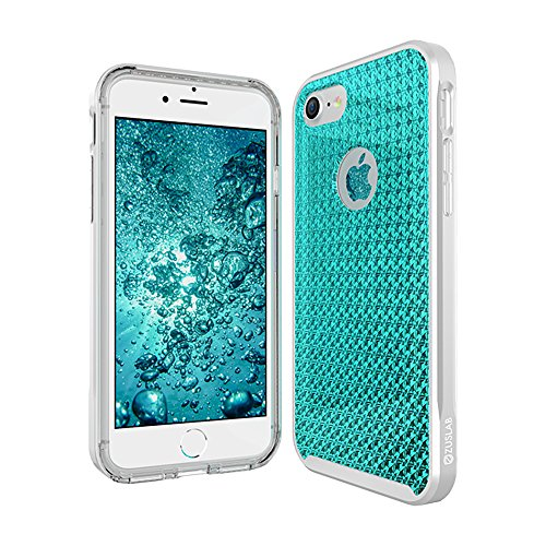 Iphone 8   Iphone 7 Case  Zuslab  X Bumper  Classic Rich Texture Pu Leather With Metal Color Bumper  Dual Layer Heavy Duty Cover For Apple Iphone 8   Iphone 7  Starry Aqua