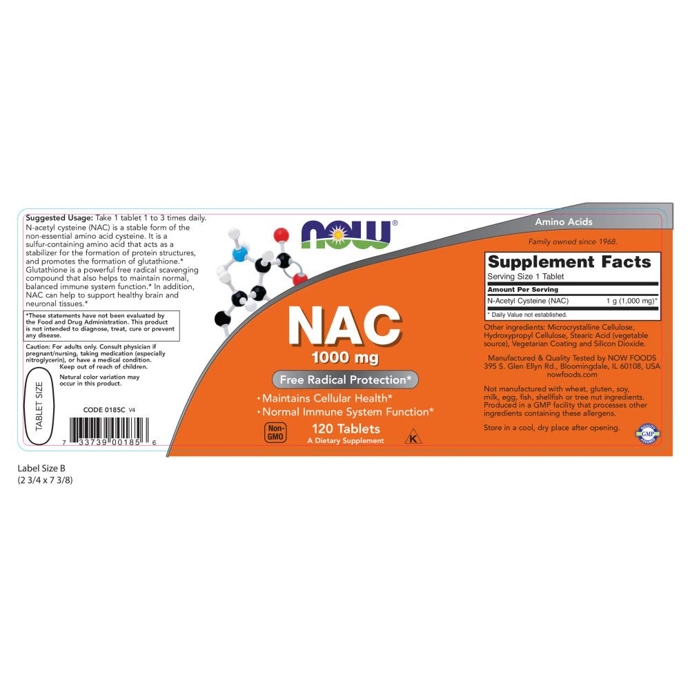 Now N-Acetyl-Cysteine 1000 mg, 120 Tablets by NOW Foods (Image #1)