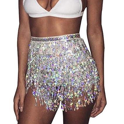 2019 Sequined Belly Dancing Hip Scarf Festival Belt Beach Wrap Skirt Tassel