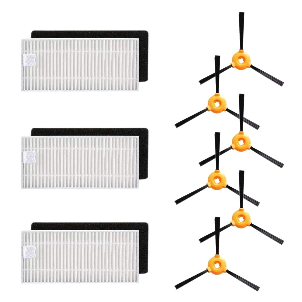 TOOGOO Replacement Kit - 3 Sets Filters kit(3pcs high Efficiency Filters+3 pcs Foam Filters), 6 pcs Side Brushes