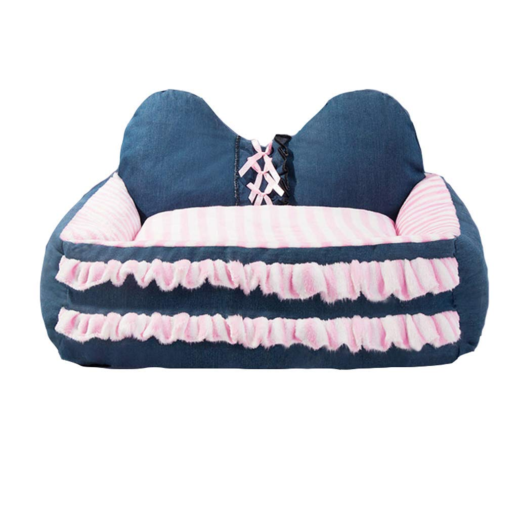 M D M D KYCD Kennel,pet Bed Winter Thick Warm Small Medium Dog Winter Dog House Pet Supplies Removable Washable (color   D, Size   M)