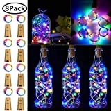 Wine Bottle Lights with Cork, 8 Pack 15 LED Battery Operated LED Cork Shape Silver Copper Wire Colorful Fairy Mini String Lights for DIY, Party, Decor, Wedding Indoor Outdoor (Multicolor)