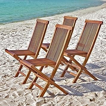 Lot de 4 chaises de Jardin Pliantes en Bois de Teck: Amazon.fr: Jardin